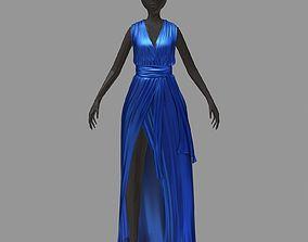 women summer long blue dress white high heel 3D asset
