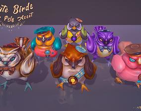 Cute Birds Low Poly 3D asset
