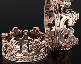 band Vintage Crown Wedding Band 3D print model