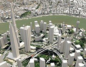 Cityscape Shanghai China 3D