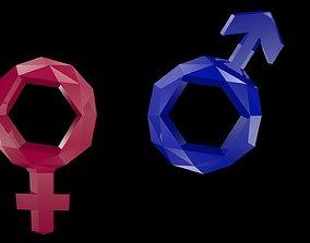 Low poly Symbols of gender 3D asset