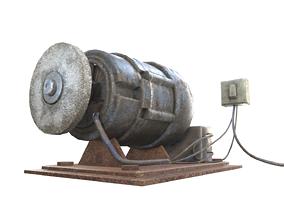 3D asset old rusty diy grindstone