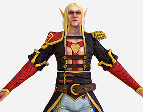 3D model Game Character White Elf Leather Coat Cavalier