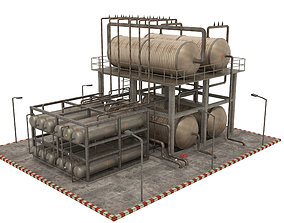 3D asset game-ready Oil Refinery construction
