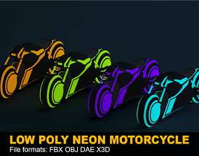 3D model LOW POLY - NEON MOTORCYCLE