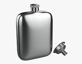 Liquor flask stainless steel 04 3D model