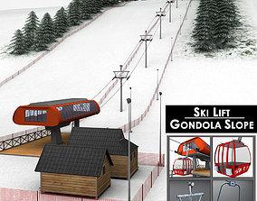 Ski slope gondola mountain large pack 3D