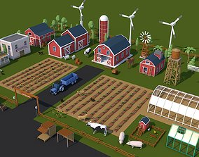3D model Low Poly Farm House and Animals Pack