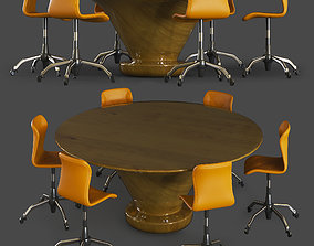 lather 3D model chair and table