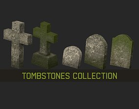 Cemetery headstones lowpoly pack 3D asset