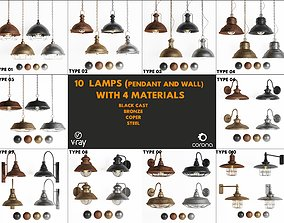 3dasset 10 lamps with 4 materials VR / AR ready