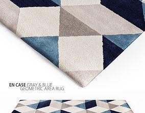 En Casa Gray Blue Geometric Area Rug 3D