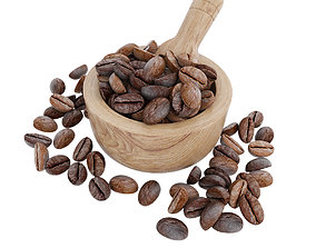 3D model Coffee beans in wooden bowl