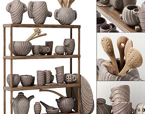 3D model Dishes clay rack n5