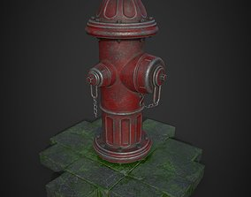 fire hydrant with stone 3D model