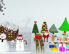 Voxel Christmas New Year Pack 3D asset