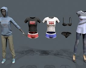 Female cloths set 3D model