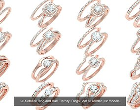 22 Solitaire Ring and Half Eternity Rings 3dm stl
