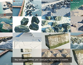 3D model Bay with rocks waves pier sand plus HQ