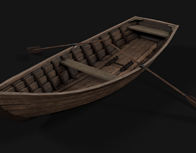 wooden boat with oars 3D asset rigged realtime