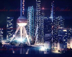 3D model Night view of Shanghai
