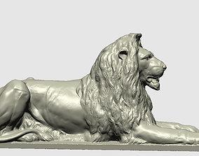 bronze lion at trafalgar center London 3D print model