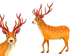 Cartoon Deer 3D asset low-poly