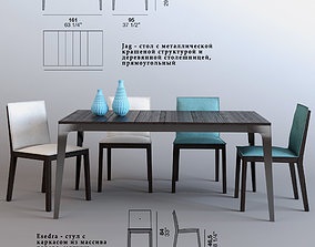 3D Model table and chairs Alf Dafre