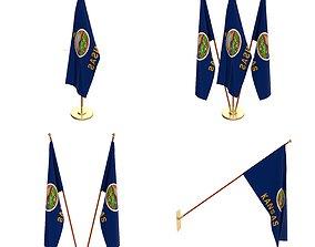 3D model Kansas Flag Pack
