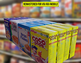 3D asset 4 Assorted cereal boxes Remastered for VR AR and