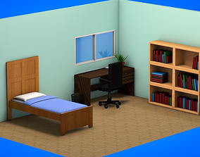 Isometric bedroom 3D asset VR / AR ready