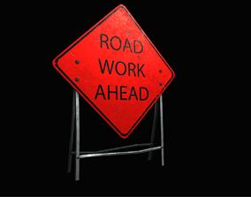 3D model HQ Road Sign