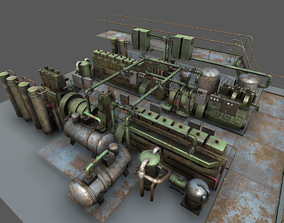 Low poly machinery models pack 3D asset