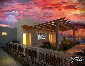 3D Villa house terrace