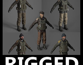 animated Rigged Terrorist 3d model pack