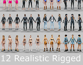 3D asset 12 Rigged Female Characters