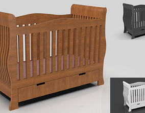 3D model Baby bed Low Poly with 4 ver of texture