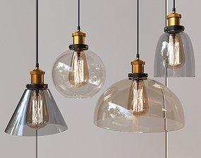 Glass pendant lamp with Edison lamp 013 3D