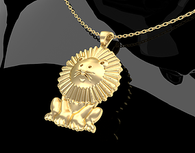 3D print model Cartoon Sitting Lion Pendant Jewelry