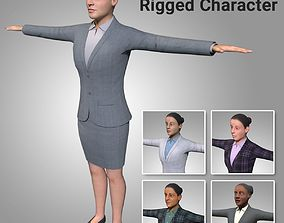 5-in-1 Low Poly Rigged Female Character - Maya 3D asset