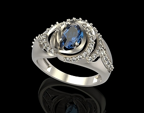3D print model Ring with gem and diamonds silver
