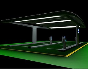 Electric Vehicle Car Charging Station Complex 3D
