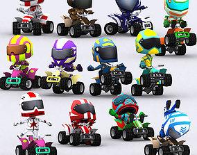 animated 3DRT - chibii racers - quad bikes