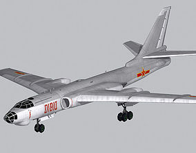 Chinese Air Force H-6A bomber low polygon 3D model