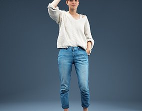 3D asset Looking Scout Girl in Jeans and White Top