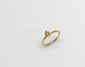 3D print model Thin baroque pattern ring with stone