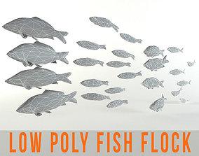 Fish Flock Lowpoly Sealife Bass Pollad Plaice 3D model 1