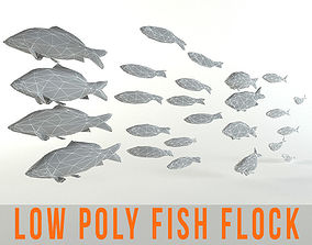 Fish Flock Lowpoly Sealife Bass Pollad Plaice 3D model 1