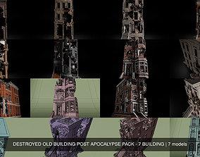 3D DESTROYED OLD BUILDING POST APOCALYPSE PACK - 7