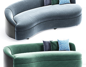 Boomerang Curved Sofa With Pillow 3D